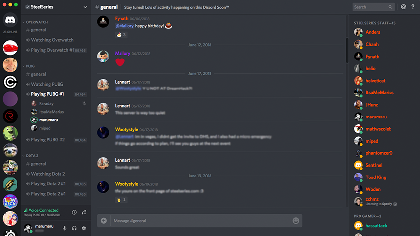 Screenshot of Discord desktop app with people chatting in voice channel